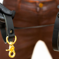 Commande Leash - Black Latigo Leather - Ebony & Brass Rivets