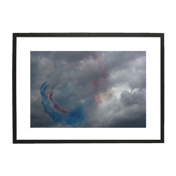 Aviation Photography, Monochromatic Art Photography, Airshow, Cloudy Moody Sky, Aerobatic Display, Wall Art, Boys Room Decor.