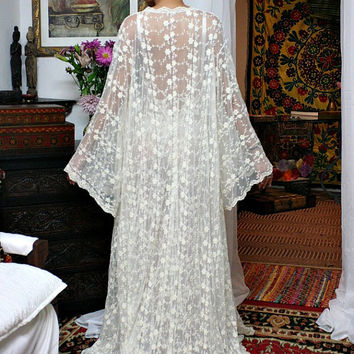 Heirloom Lace Bridal Robe Embroidered French Lace Bridal Wedding Lingerie Angel Sleeve Sarafina Dreams 2014 Bridal Collection