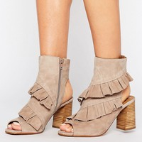 River Island Frill Detail Open Toe Boots at asos.com
