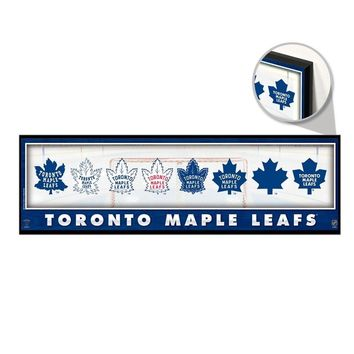 """TORONTO MAPLE LEAFS THROUGHOUT THE YEARS LOGO VINTAGE WOOD SIGN 9""""x30"""" WINCRAFT"""
