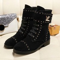 LV Louis Vuitton New Popular Women Personality Rivet Shoes Boots Black I-ALS-XZ