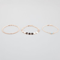 Full Tilt 3 Piece Chain/Disc/Stone Anklet Gold One Size For Women 25580962101