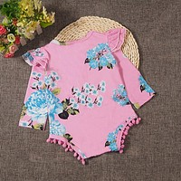 Newborn Infant Kids Baby Boy Girl Cotton Floral Tassel Romper Long Sleeve Jumpsuit Clothes Outfit