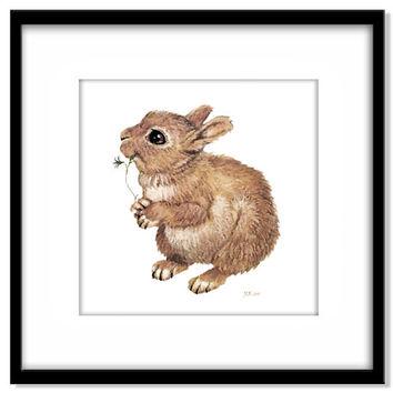 Baby Rabbit Instant Download, Nursery Art, Children's Illustration, Kids Wall Art, Neutral Colour
