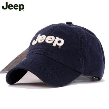 ESBON9X Unisex Cotton Solid Color Text Curved Brim Baseball Cap Gray Jeep Hat [2974244216]