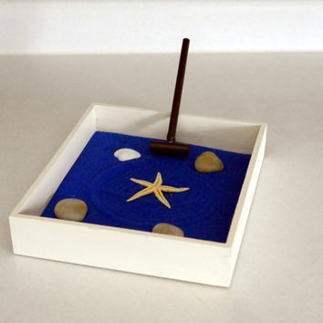 Mini Beach Zen Garden - Coastal Decor Beach Garden Beach Office Decor - Nautical Decor Beach Desk Starfish Decor - Nautical Office Blue