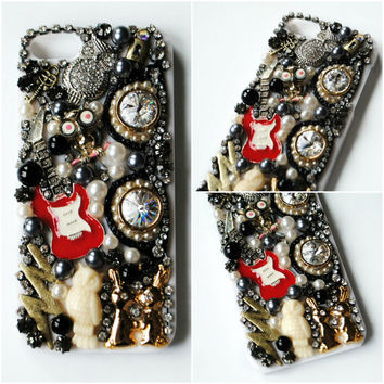 PUNKY iPhone 5 Case // Black Silver Gold // Guitar Owls Lightning Bunny Key Lock Glasses // Hipster Punk Rock Emo Goth