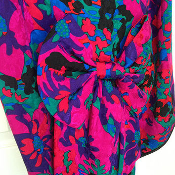 80s Flora Kung Silk Cocktail Dress - 1980s Vintage - Jewel Tones Abstract Floral - Back Bow - 4 Small - Flora Kung New York