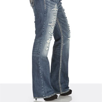 silver jeans co.® plus size Tuesday destructed lace jean