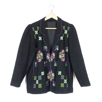 Vintage Linen Jacket -- Embroidered Linen Coat -- Ethnic Jacket -- Slouchy Black Blazer -- Bohemian Tapestry Coat -- Womens Size M / L