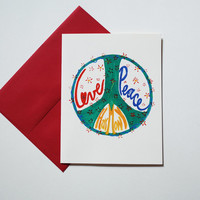Peace Sign card set hippie stationery boho love