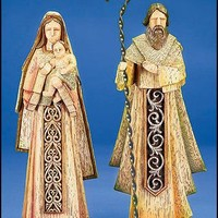 Unique Wood Carved Holy Family Set