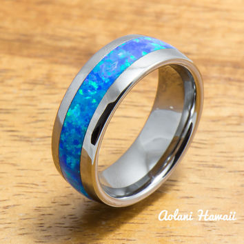Tungsten Ring with Opal Inlay (4mm - 8mm width, Barrel style)