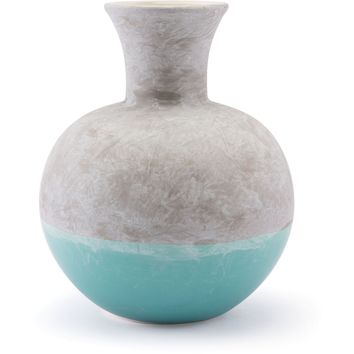Gray & Teal Azte Vase, Medium