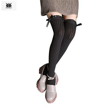 Children Tights for Girls Cotton Spring Solid Bowknot Thigh High Over Knee Stockings Chaussettes Enfants