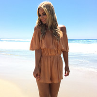 On The Fence Off Shoulder Romper In Mustard