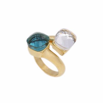 JSBAO New Arrival Double Glass Stone Fashion Ring Women Gold Colour Stainless Steel Clear/Blue Colour Ring For Women Jewelry