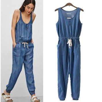 Stylish Round-neck Sleeveless Denim Pants Jumpsuit [5013158340]