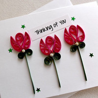 handmade paper quilled all occasion or friendship greeting card – thinking of you