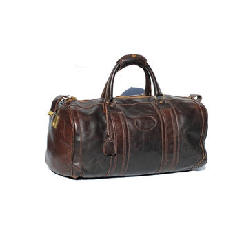 Sarsaparilla Brown Leather Travel Duffel Bag