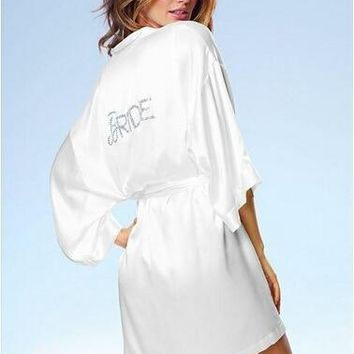"Satin Faux Silk Wedding Bride Bridesmaid Robes,White Bridal Dressing Gown/ Kimono Bathrobes,""BRIDE""""BRIDE MAID"" Graphic on Back"