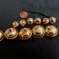 Vintage Shiny Gold Metal Buttons, High Dome, Hollow Puffed Buttons, Gold Shank Blazer Buttons, Lot Of 12 Buttons, Vintage Gold Tone Buttons