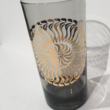 Retro Gold Medallion Tumblers, Set (6) Smoke Grey Drinking Glasses, Vintage Mid Century Sunburst Gold Tumblers, Mad Men Retro Barware Set