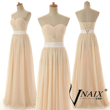 Cheap Custom Color and Size Elegant Formal Strapless Sweetheart Long Chiffon Pleated Champagne Bridesmaid Dress Evening dress