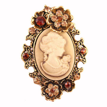 Fiona Vintage Elegant Beauty Cameo Brooch pins for women fine jewelry Gold/Silver Rhinestone wedding brooch christmes brooch