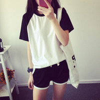 Fashion Casual Multicolo Stitching Round Neck Short Sleeve Set Two-Piece Sportswear