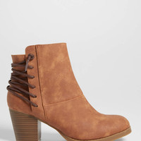Gloria bootie with lace up back in brown | maurices