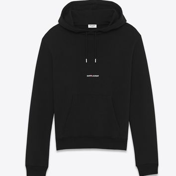 Black Crop Top Hoodie by Saint Laurent