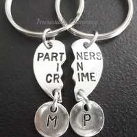 Sale.....Best friends, BFF partner in crime (2pcs) keyring, keychain, bag charm, purse charm, monogram personalized item No.665