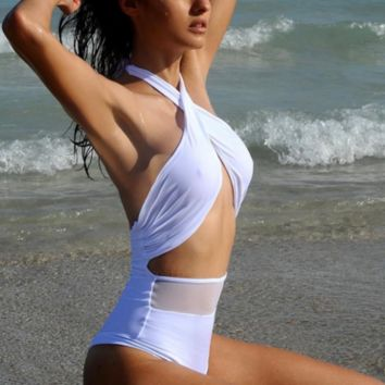 HOT ONE PIECE HIGH WAIST CROSS WHITE BIKINIS