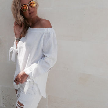 The Ari Top - White Linen Off Shoulder Top with Split, Tie-up Sleeves, Black Linen