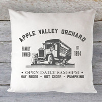 Fall Farm Pillow Cover - Apple Orchard Ad, Old Truck Pillow, Vintage Fall Pillow, Farmhouse Pillow, 16 x 16, 18 x 18