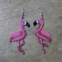 Flamingo Earrings Hand Made Seed Beaded