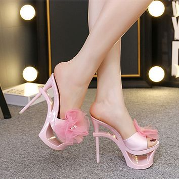 Women Sweet Fashion Flower Hollow Platform Open Toe Sandals Ultra High Stiletto Heels Shoes Slippers