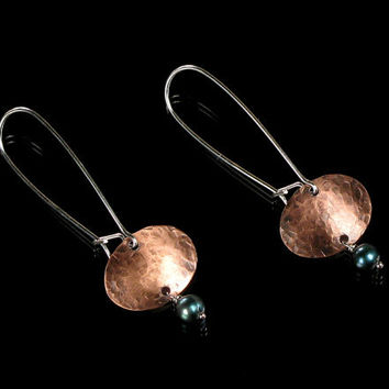 Copper & Pearl Hand-forged Dangle Earrings - Mixed Metal Jewelry - Drop Earrings - Art Jewelry - Metal Earrings - Copper Earrings