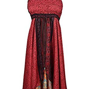 Mogul Womens Kristen Holiday Dress Maroon Recycled Vintage Silk Sari Boho Halter Sundress