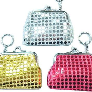 """3.25"""" Sequin Fashion Coin Purse With Key Chain"""