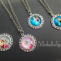 Disney Frozen inspired Glass Dome Necklaces Queen Elsa and Anna Elsa Necklace Anna Necklace Elsa Charm Bracelet