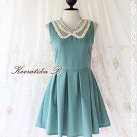 Peter Pan Pastel Dress - Cutie Dusty Blue-Green Simply Dress Peter Pan Lace Collar Pleated Skirt Party Cocktail Bridesmaid Wedding Dress