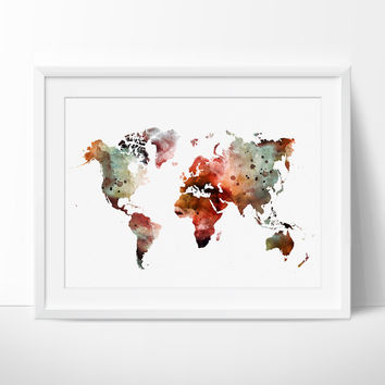 Large World Map Art Print, Watercolor Art, Watercolor print, World Map Art, Watercolor Map Print,Watercolor Map Poster(175)