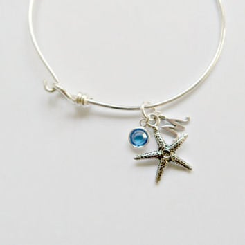ON SALE Personalized Starfish Bangle Bridesmaid Jewelry Beach Wedding Nautical Style Initial Bangle Starfish jewelry