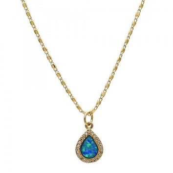 Gold Layered Fancy Necklace, Teardrop Design, with Opal and Micro Pave, Golden Tone
