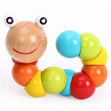 Colorful Insects DIY Educational Wooden Toys Fingers Flexible Training Science Twisting Worm Puzzle Toys Gift for Kids Children