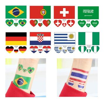 2018 Russia World Cup 10Pcs/Set Flag Tattoo Stickers 32 States National Flag Waterproof Soccer Football Fans Face Arm Stickers