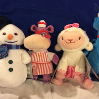 Doc Mcstuffins Friends Plush 4 Doll Disney Lambie Hallie Stuffy Chilly Lot Set